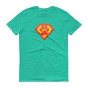 superhero-paw-print-tee_mockup_Flat-Front_Heather-Green