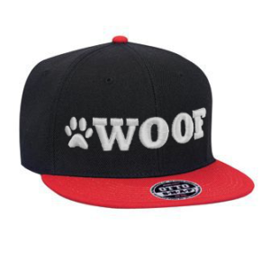 WOOF Wool Blend Snapback Cap - Black/Red