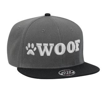 WOOF Wool Blend Snapback Cap - Charcoal/Black